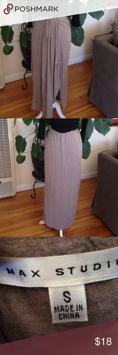 Max Studio Brown Maxi Skirt Max Studio, light brown maxi skirt, with detail down front. RN 58822. Material: 95% rayon, 5% spandex. Machine wash cold. Pre-loved, beautiful condition. Max Studio Skirts Maxi