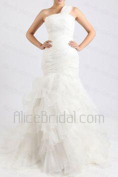Organza One Shoulder Chapel Train Mermaid Wedding Dress - Alice Bridal