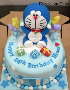 There are also many people created Doraemon Birthday Cake Ideas. Here are some cute Doraemon Birthday cake ideas that you might love. Pirate Birthday Cake, Make Birthday Cake, Baby Birthday Cakes, Happy Birthday, Birthday Ideas, Birthday Cards, Fondant Cake Designs, Fondant Cakes, Cupcakes