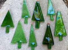 Recycled Glass Bottle Christmas Tree Ornament by #Flower7 Handmade for the holidays #CyberMonday #CyberSFetsy