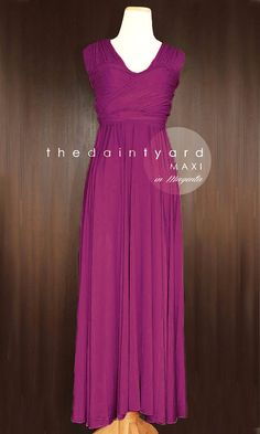 31da77d198b MAXI Magenta Bridesmaid Dress Convertible Dress by thedaintyard Rustic  Wedding Gowns