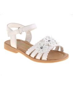 Take a look at this Petalia White Three-Flower Strappy Sandal today!