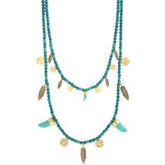 Jessica Simpson Turquoise Gold-Tone Dream Catcher Feather Layered... ($78) ❤ liked on Polyvore featuring jewelry, necklaces, turquoise, horn necklace, turquoise feather necklace, feather jewelry, turquoise strand necklace and double layer necklace