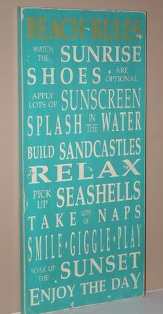 Beach Rules Vintage Style Typography Word Art Sign in Aqua. $95.00, via Etsy.