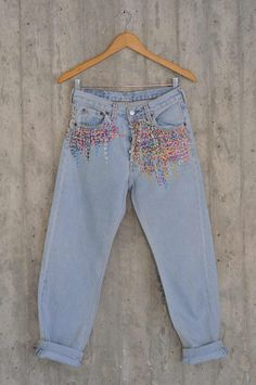 Diy Jeans, Jeans Refashion, Jeans Levi's, Hijab Jeans, Work Jeans, Vintage Jeans, Jean Vintage, Boho Vintage, Thrift Store Outfits