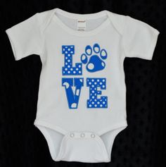 Personalized LOVE Paw Print Wild Cats Football Applique Shirt or Onesie on Etsy, $25.00