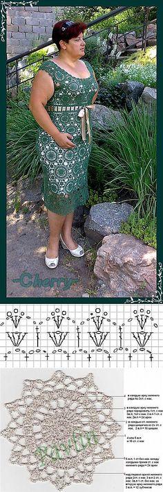 Платье 'Малахит'. 3 Платье связано из тонкого хлопка АННА-16, крючком №1.5-2  Полный расход 400гр. Подклад сшит из шифона. Схема после фото - на обвязку горловины и проймы, низ платья - по желанию.