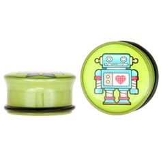 "Single Flared Robot w/a Heart Green Acrylic Plugs 6G - 1"" (4mm - 25mm)"