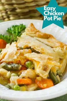 How to make the EASIEST Chicken Pot Pie Recipe made with simple ingredients. Ready in 35 minutes