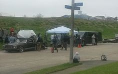 """MOVIE BEING FILMED ON LAKE LEVEE, DIRECTLY ACROSS FROM MY HOUSE. TOOK PIC FROM.M  MY LIVING ROOM WINDOW. """"Land of Dreams"""". Stay tuned to see our house in the movie."""