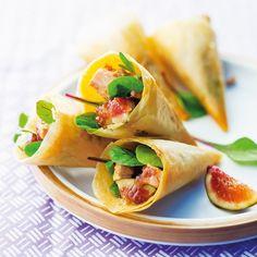 Cornets croustillants foie gras et figue - - Good Food, Yummy Food, Food Decoration, Mini Foods, Appetisers, Food Presentation, Finger Foods, Catering, Buffet