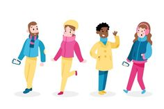 Caracter flat design Vectors, Photos and PSD files Christmas Characters, Cute Characters, Warm Outfits, Winter Outfits, Character Flat Design, How To Draw Santa, Watercolor Christmas Cards, Hello Winter, Happy Friends