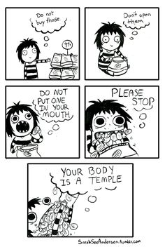 The internal monologue that goes on whenever I cave to junk food. T_T