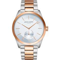 Ανδρικό ρολόι Pierre Cardin από ανοξείδωτο ατσάλι με λευκό καντράν και μπρασελέ. Pierre Cardin, Gold Watch, Watches, Accessories, Jewelry, Products, Jewlery, Wristwatches, Jewerly