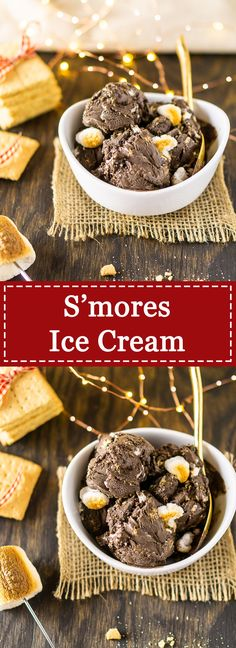 If you love s'mores and you love ice cream, you'll love this s'mores ice cream. This smores ice cream starts with a chocolate ice cream base and is studded with crushed graham crackers and toasted marshmallows. Chocolate Ice Cream, Chocolate Flavors, Chocolate Desserts, Smores Dessert, Love Ice Cream, Ice Cream Maker, Cream Cream, Frozen Desserts, Frozen Treats