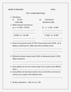 Fise de lucru - Scolari I - IV: TEST la Matematica Clasa a IV-a Unitatea 2 Math For Kids, Activities For Kids, First Grade Math Worksheets, Homework Sheet, Math Numbers, Homeschool Math, Teacher Hacks, Kids Education, Preschool
