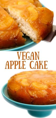 Vegan apple cake is the perfect cake for fall! Fill the house with the smell of cinnamon and apples baking with this easy salted caramel apple upsidedown cake. It's moist, flavorful, and sure to be a hit with the whole family! #thehiddenveggies