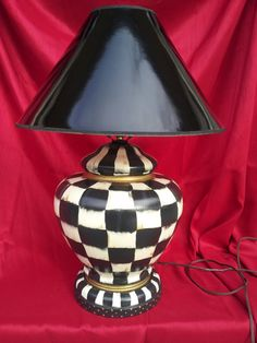 Whimsical Hand Painted Black and White Check French Country Lamp One of a Kind