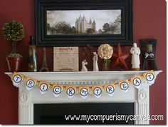 ignore the trick or treat banner; really like the mantle, temple picture, etc.