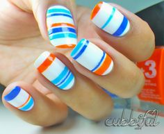 cubbiful: Nail Art Week: Sailor Stripes Nail Art with Leticia Well