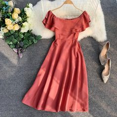 Buy Lucuna Off-Shoulder Short-Sleeve A-Line Dress Casual Dresses, Short Dresses, Fashion Dresses, Summer Dresses, A Line Dresses, Frock Design, Detachable Wedding Skirt, Pretty Dresses, Beautiful Dresses