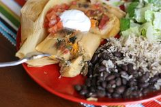 Vegetarian tamales made with cilantro, tomatoes, mushrooms, green onions, poblano peppers, potatoes, and cheddar. I think this would make a great base for vegetarian tamales. Just change up the vegetables and seasoning for a variety of flavor