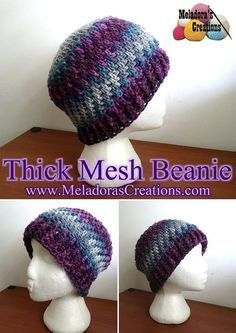 Share this: This Free Crochet pattern teaches how to make a Thick Mesh Stitch beanie for men or women in sizes Baby to Adult. Find more Beanie patterns here Crochet Beanies Other patterns that use this stitch are: Thick Mesh Stitch Thick Mesh Slouch Hat Mesh Stitch Scarf Brick Stitch Finger less …