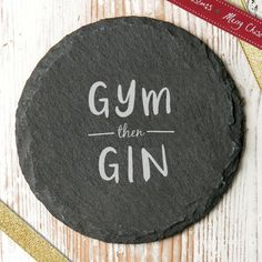 'gym then gin' slate drinks coaster ($31) ❤ liked on Polyvore featuring home, kitchen & dining, bar tools, slate coasters and slate drink coasters