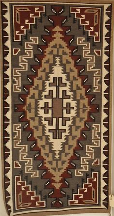 Native American, Navajo Two Grey Hills weaving/rug, Circa 1930-50 841. Description: Native American Navajo Two Grey Hills weaving/rug, Circa 1930-50. Classic Revival Period. Hand carded and spun wool