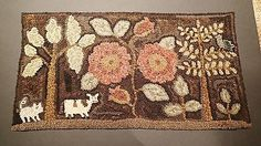 Primitive-Hand-Hooked-Small-Rug-by-Peggy-Teich-with-Flowers-Cow-Pig-and-Bird