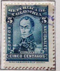 Personajes y motivos colombianos 1917 BOLIVAR