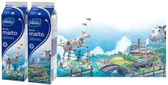 Valion pakkauksissa kerrotaan maidon tarinaa maalta kaupunkiin. Design by Sami Saramäki.