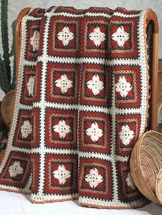 "Free pattern for ""Navajo Granny Square Afghan""!"