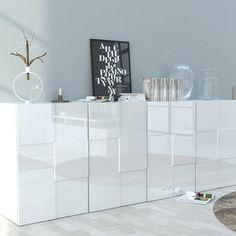 bahut design 4 portes blanc laqu novela 2 - Buffet Salon Blanc Laque
