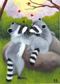 aceo print raccoon rocks hearts trees by WoundedTreeGallery