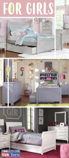 With decorator inspired room sets that come in a range of colors, styles and sizes, Rooms To Go Kids makes finding the perfect bed for your little girl or teen easy and fun! Visit Rooms To Go Kids now to see these beautiful girls' bedroom sets and more! Girls Bedroom Furniture Sets, Rooms To Go Bedroom, Rooms To Go Kids, Girls Bedroom Sets, Teenage Girl Bedrooms, Bedroom Decor, Bedroom Ideas, Purple Furniture, Bedroom Stuff