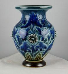 Royal Doulton Lambeth Blue Floral Motif Small Vase Excellent | eBay