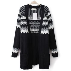 Black Long Sleeve Geometric Pattern Cardigan - STDRESSES