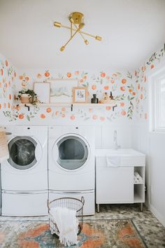 One Room Challenge – Laundry Room Makeover. How We DIY'd and Completely transformed this ugly old laundry room for under 200 dollars! Bright and Happy Laundry Room Makeover - One Room Challenge - Laundry Room Makeover - Jessica Sara Morris Laundry Decor, Laundry Room Design, Laundry In Bathroom, Washroom, Laundry Rooms, Laundry Room Makeovers, Laundry Room Colors, Design Bathroom, Design Kitchen