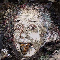 A visual artist from Rio de Janeiro recreates portraits of historical and popular icons using scrap electronics. Check out his portrait of Eienstein here. Electronic Scrap, Reverse Graffiti, Funky Art, Celebrity Portraits, Cultura Pop, Land Art, Digital Illustration, Photo Illustration, Art Forms