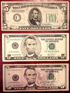 Photos of United States paper money and  The US Dollar notes on this page are actual size when screen display is set  Older series 5 Dollar Bill