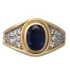 1.65Ct Sapphire & 0.62Ct Diamond, 18k Yellow Gold Dress Ring, Vintage Circa 1950