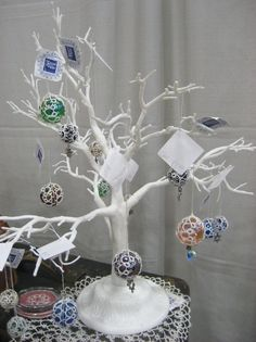 Christmas tree with glass ornaments baubles decorations