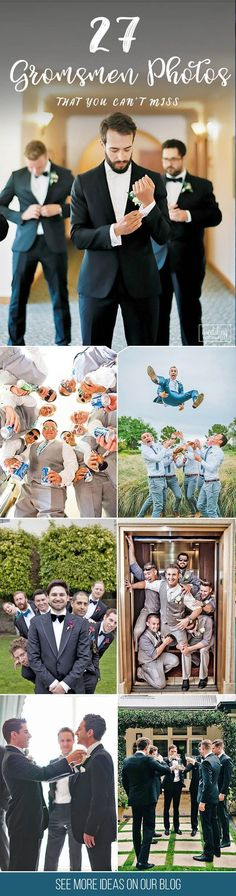 27 Awesome Groomsmen Photos You Can't Miss � You already got a list of must have photos with your bridesmaids. It's only fair we gathered a similar gallery of awesome groomsmen photos you can't miss! See more: www.weddingforwar... �# groom #groomsme