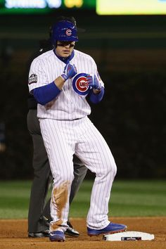 Anthony Rizzo #44 of the Chicago Cubs reacts after hitting a double in the fourth inning against the Cleveland Indians in Game Five of the 2016 World Series at Wrigley Field on October 30, 2016 in Chicago, Illinois.
