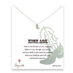 kick ass reminder necklace with sterling silver cowboy boot $48.00 makin this mine this minute....