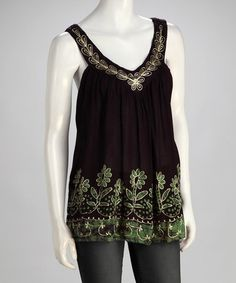 Take a look at this Black & Green Embroidered Boho V-Neck Top - Women by Shoreline Wear on #zulily today!