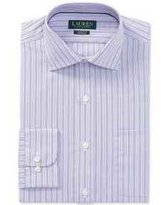 Lauren Ralph Lauren Men's Classic/Regular Fit Non-Iron Grape/White Stripe Dress Shirt - C Grape/white Multi 15.5 32/33