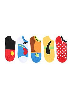 "Cosplay for your feet! These five pairs of no-show socks from Disney feature an assortment of character themed designs, including Mickey Mouse, Donald Duck, Goofy, Pluto & Minnie Mouse!<br><ul><li style=""LIST-STYLE-POSITION: outside !important; LIST-STYLE-TYPE: disc !important"">One size fits most</li><li style=""LIST-STYLE-POSITION: outside !important; LIST-STYLE-TYPE: disc !important"">98% polyester; 2% spandex</li><li style=""LIST-STYLE-POSITION: outside !important; LIST-STYLE-TYPE: disc !imp"
