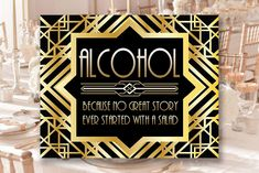 Gatsby Bar Decor Alcohol Sign, 8 x 11 x 16 x size, Gatsby Party, Art Deco Party Supplies - Black and Gold Cards, Art Deco Party, Alcohol Signs, Diy Shops, Gatsby Party, Handmade Items, Handmade Gifts, Party Printables, Party Supplies, Bar